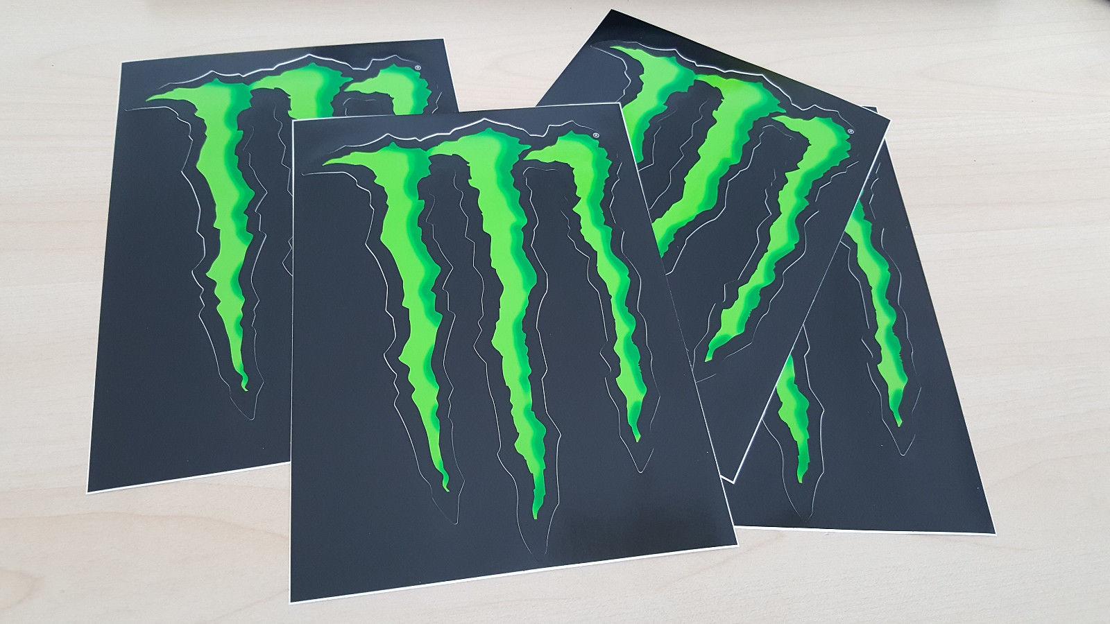 Monster Energy 4 Stück Sticker 11x16 Cm Orig Aufkleber Kralle Motocross Bmx