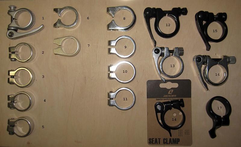 diverse Sattelklemmen//Schnellspanner; für Sitzrohr-Durchmesser 34,9 mm